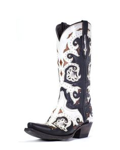 Women's Studded Scarlet Black and Natural Inlay Boot