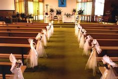 church flowers with tulle