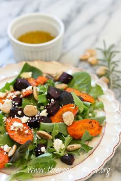 Roasted Beet and Carrot Salad with Lemon White Balsamic Vinaigrette