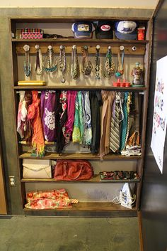 "A little closet just dedicated to accessories- what every girl needs! And completely doable by cutting into an unused (and viable) wall and creating a set-in ""box""/closet with a door!"