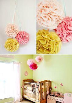 baby girl rooms, girl nurseries, paper pom poms, nursery decor, babi girl, baby girls, little girl rooms, baby showers, babies rooms