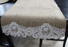 Burlap and Beaded Lace Table Runner, @Mary Powers Powers Andersen and @Joan Gordon Arnold, check out this etsy shop for your wedding :)