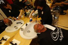 Gold Medal Olympian Jamie Anderson's  dad enjoys a hair wash courtesy of Head & Shoulders at the P&G Salon during a visit to the P&G Family Home.