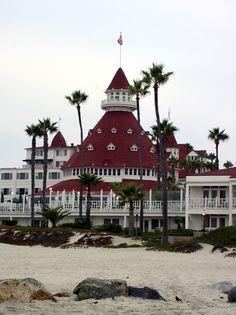 Hotel Del Coronado ~ Coronado Island, near San Diego, California--View of the hotel as seen from the beach.