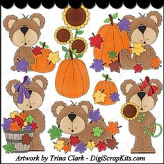 Autumn Bears 1 Clip Art - Original Artwork by Trina Clark