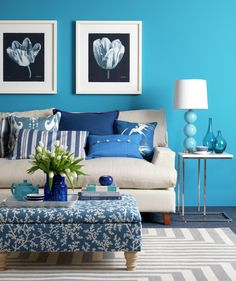 Turquoise living room with various blue accent pieces