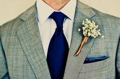 Style Me Pretty | Calynn Berry boutonnier, gray weddings, grey suits, ties, navy, groom attire, flower, black, blues