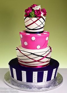 Funky Wedding Cake but great Birthday Party Cake...with black instead of navy.. Wes looked at it weirdly lol