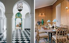 From left: the entrance hall, with a harlequin patterned marble floor; the dining room with walls clad in bamboo matting, late-19th-century lamps from Madeleine Castaing's Paris shop and dining chairs by McGuire.