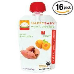HAPPYBABY Organic Baby Food, Stage 2, Apricot & Sweet Potato, 3.5 Ounce Pouchs (Pack of 16)