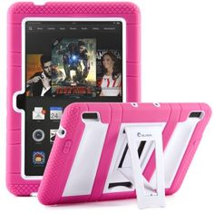 Pink Cover for the New Kindle Fire HDX 7. Built-in screen protector and a kickstand. #kindlefire #kindle