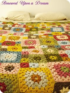 Crochet Granny Square Large Afghan Blanket! So pretty!!
