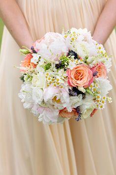 Peach and white bouquet for a beach wedding | Kyo Morishima Photography | Brides.com