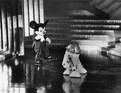 Photograph dated April 3, 1978 shows Artoo-Detoo and Mickey Mouse on stage during the 50th Annual Academy Awards, held at the Dorothy Chandler Pavilion.