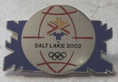 Salt Lake Olympic Games Olympics 2002 Blue Snowflakes Globe Silvertone Pin Badge  ~ This Item is for sale at LB General Store http://stores.ebay.com/LB-General-Store ~Free Domestic Shipping ~