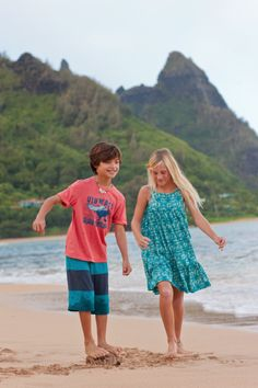 Boy: Uluwatu tee & Colorblock shorts, Girl: Gili Islands Ruffle Hem Dress, Great outfit combination for siblings at teacollection.com!