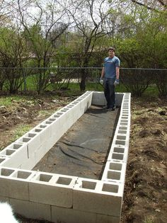 above ground garden - fill cinder blocks with soil for stability, cap with flat concrete rectangular bricks or plant herbs / flowers in open holes