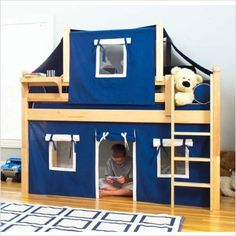 Picture of Maxtrix Kids Twin Low Loft Bed with Curtain and Top Tent (Low Rider / Easy Rider) (Bunk Beds)