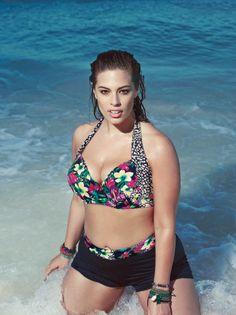 Printed Halter Bikini Top & Boyshort...Available at Addition Elle, your plus size fashion destination. #plussize
