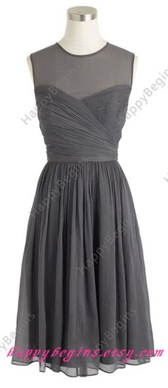 Short Grey Bridesmaid Dress Junior Chiffon by HappyBegins on Etsy, $80.00