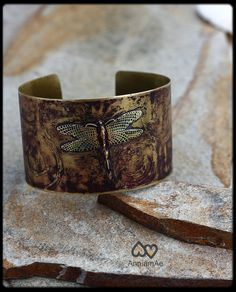 dragonfly brass cuff handforged etched color by AnniamAeDesigns, $41.00