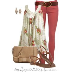 """""""Floral Top, Red and Tan"""", created by jaycee0220 on Polyvore"""