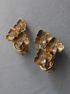 Pennino Gold Orchid Leaf Earrings w Clear by GiltyGirlVintage, $40.00
