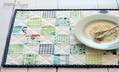 Scrappy Patchwork Placemat by A Spoonful of Sugar