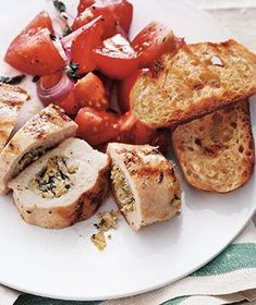 Stuffed Chicken Breasts With Tomato Salad recipe chicken recipes, chicken breasts, stuffed chicken, summer chicken, stuf chicken, food, tomato salad, tomatoes, salads