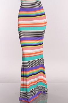 Teal Multi Printed Maxi Skirt