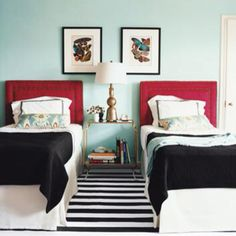 headboard, color schemes, color combos, guest bedrooms, colors, black white, twin beds, guest rooms, red black