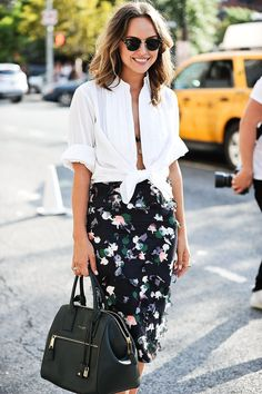 Swap the tied white shirt for a boxy white shirt or blouse and this would make a perfect summer office piece.