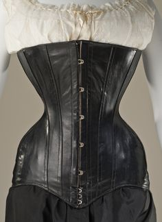 Corset: ca. 1900, English, leather and metal.