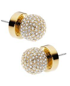 Michael Kors Earrings, Gold Tone Pave Fireball Stud Earrings.