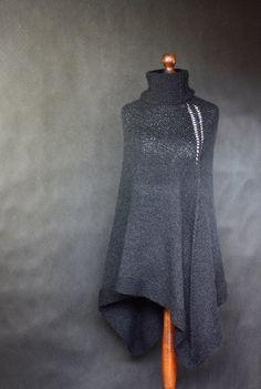 Hand Knit black Poncho