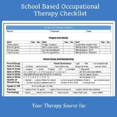 School Based Occupational Therapy Checklist - check out our latest product to simplify your documentation