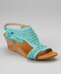 Love this Teal Wedge Sandal on #zulily! #zulilyfinds