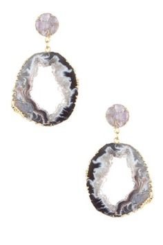 Antonia Druzy Sliced Agate Geode Dangle Earrings