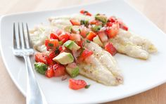 grilled red snapper with avocado and strawberry salsa