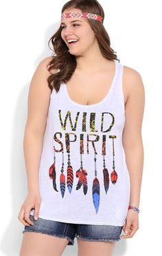 Deb Shops Plus Size Racerback Tunic Tank Top with Wild Spirit Feather Screen $10.00