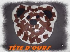 tête d'ours collage de papier découpé aux ciseaux cranteurs
