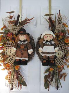 LAST CHANCE SALE 2 Double Door Wreaths Pilgrim by funflorals, $145.00