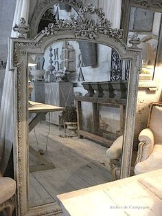 Gray French Louis XVI Mirror