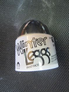 Vintage Winter L'eggs Brand Egg PantyHose Size Q Black warm ribbed hosiery kitschy