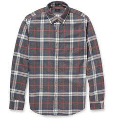 J.Crew - Plaid Button-Down Collar Brushed-Cotton Shirt|MR PORTER