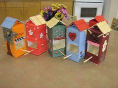 More milk carton bird feeders!  Too cute!  Great craft idea for kids or seniors.