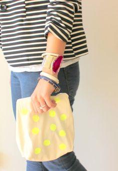 DIY Neon Crafts: DIY Neon DIY Crafts: Canvas Neon Polka Dot Lunch Bag