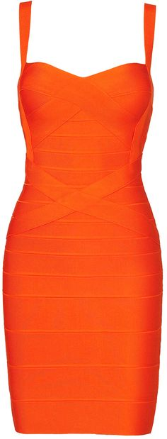 'Sunset' Orange Strappy Bandage Bodycon Dress - Inspired by Beyonce