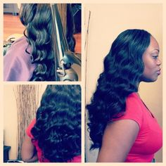 Full Sew-In Weave w/ Wand Curls which create a deep wave.