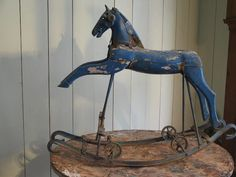 French rocking horse with iron head. Old blue paint. Rare model. Circa 1900.